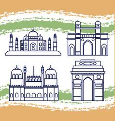 Set structures emblematic indian vector