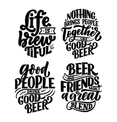 set with lettering quotes about beer in vintage vector image