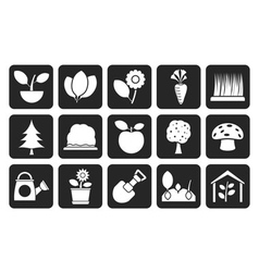 Silhouette Different Plants and gardening Icons vector