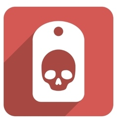 Skull Label Flat Rounded Square Icon with Long vector