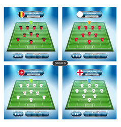 soccer team player plan group g with flags vector image