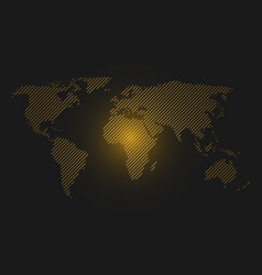striped world map orange led light futuristic vector image
