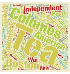 The Boston Tea Party text background wordcloud vector