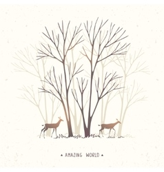 Trees and two deer vector