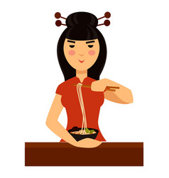 Typical chinese woman eats traditional meal of vector