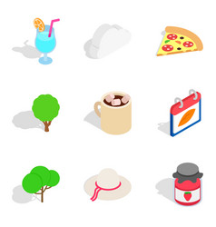 vegen meal icons set isometric style vector image