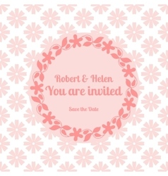 Wedding card template with floral frame vector image