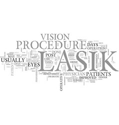 What happens after the lasik procedure text word vector
