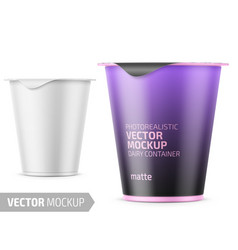 white yogurt pot template vector image