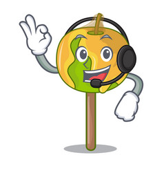 With headphone candy apple mascot cartoon vector