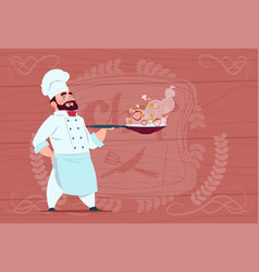 chef cook holding frying pan with hot food smiling vector image