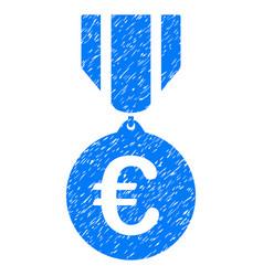 Euro honor medal grunge icon vector
