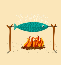 fish in the spit vector image vector image