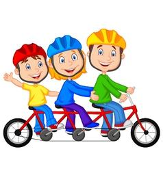 Happy family cartoon riding triple bicycle vector image vector image