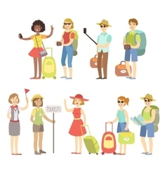 Happy Tourist With Bags And Cameras Set vector image
