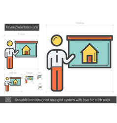House presentation line icon vector