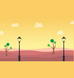 landscape of hill with street lamp vector image
