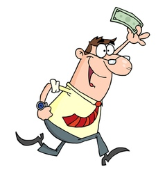 Lucky Businessman Running With Dollar In Hand vector image