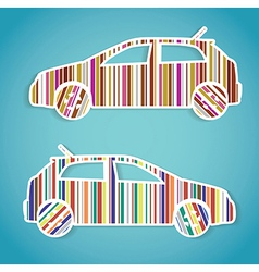 barcode cars stickers vector image