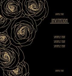 Black wallpaper with big roses invitation card vector image vector image