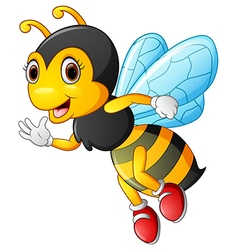 cartoon bee waving hand vector image vector image