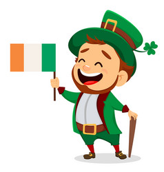 cartoon funny leprechaun with irish flag and cane vector image vector image