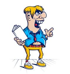 cartoon hooligan student character vector image vector image