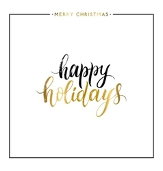 Happy holidays gold text isolated vector image vector image
