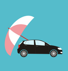Insurance concept - flat style car protected vector