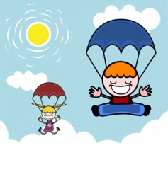 kids with parachute vector image vector image