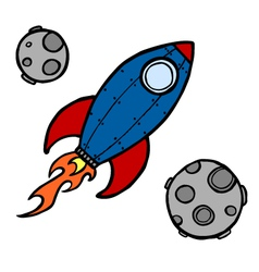 rocket and moons vector image vector image