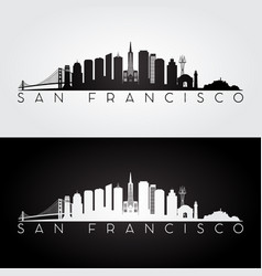san francisco usa skyline and landmarks silhouette vector image