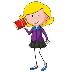 Girl holding English alphabet book vector image