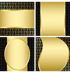 golden and black decorative cards - set vector image vector image