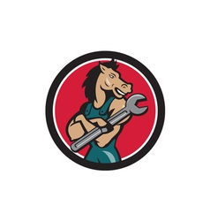 Horse mechanic spanner circle cartoon vector