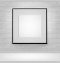 mock up poster picture black frame on brick vector image vector image