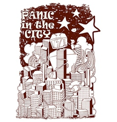 Panic in the city vector image