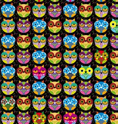 Seamless pattern with bright colored owl on a vector image vector image