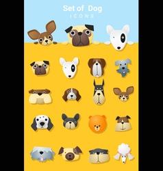 Set of cute dog icons vector image vector image