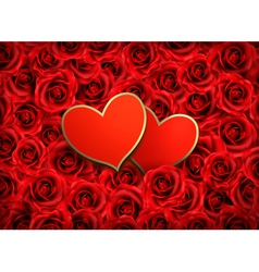 Valentines day background Two hearts on background vector image