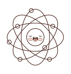 atom cartoon kawaii in monochrome silhouette vector image