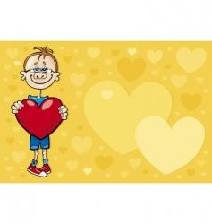 cartoon boy in love vector image