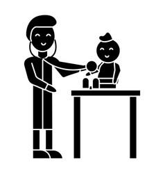 pediatrician with child icon vector image