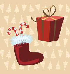 santa claus boots and red gift yellow background vector image vector image