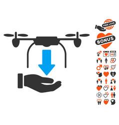 Unload drone hand icon with love bonus vector