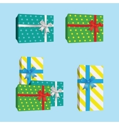 3D Gift Boxes Presents With Silver Ribbon Bow vector