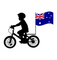 A kid rides a bicycle with Australia flag vector image