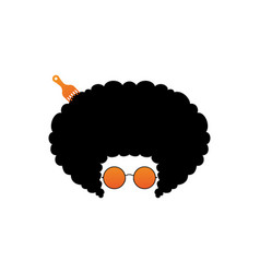afro stylish with orange glasses design vector image