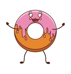 avatar donut with medium pink glazed vector image