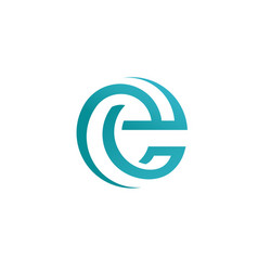 best letter e circle style logo concept vector image